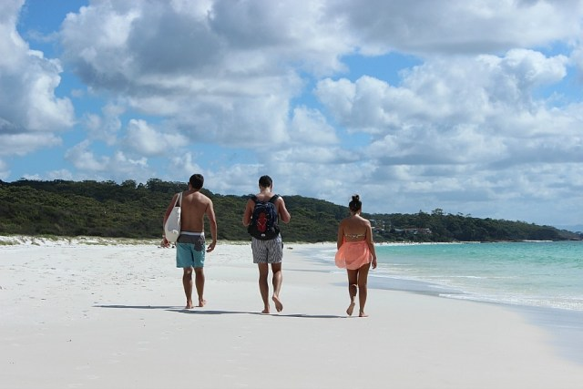 Walking along Hyams Beach in Jervis Bay