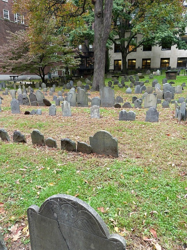 Granary Burial Ground during fall in Boston
