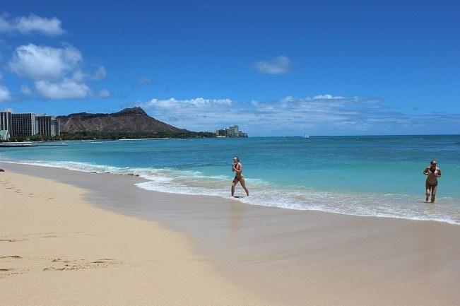 Quiet beach Waikiki near the Sheraton Hotel