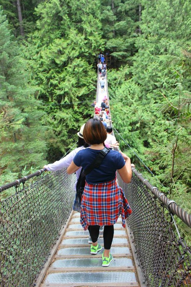 Walking the Lynn Canyon Suspension Bridge during summer in Vancouver