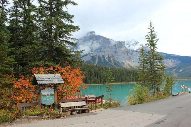 Enjoying Autumn at Emerald Lake during month three of digital nomad life