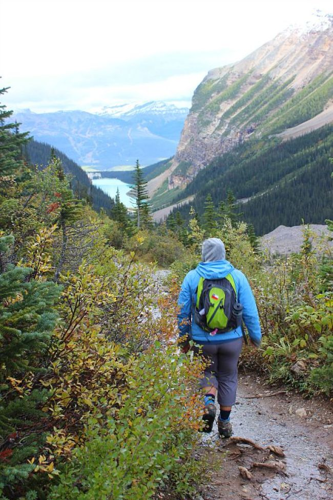Hiking above Lake Louise during month three of digital nomad life