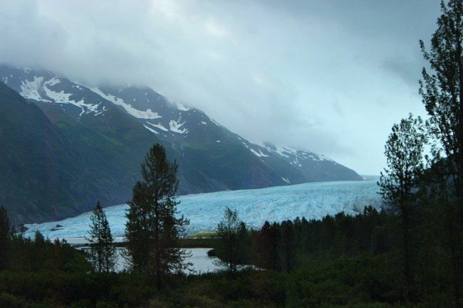 Glacier from the Alaska Railroad on the way to Seward Alaska