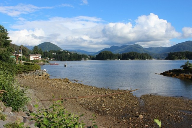 Sitka waterfront on the way to hiking Mount Verstovia