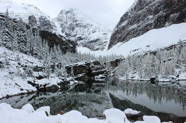Lake after snow fall on way back down from Abbot Pass Hut