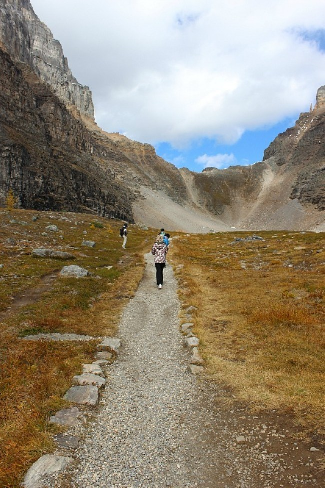 Sentinel Pass trail from Larch Valley in Banff National Park
