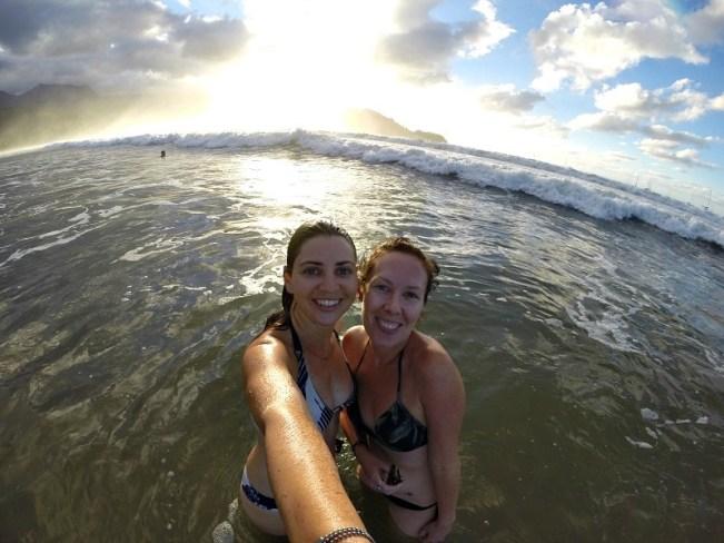 Frolicking at Hanalei Beach on Kauai, the Garden Island