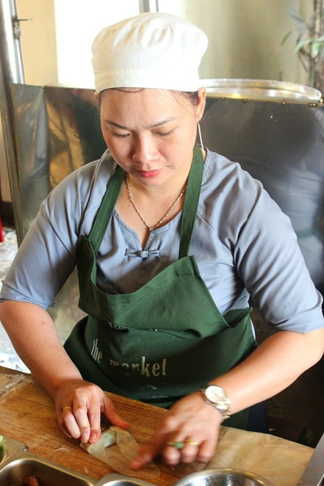 Learning to make spring rolls during month eight of digital nomad life