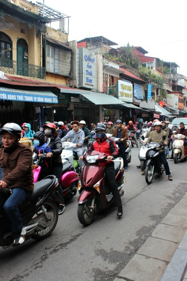 Scooters in Hanoi during month seven of digital nomad life