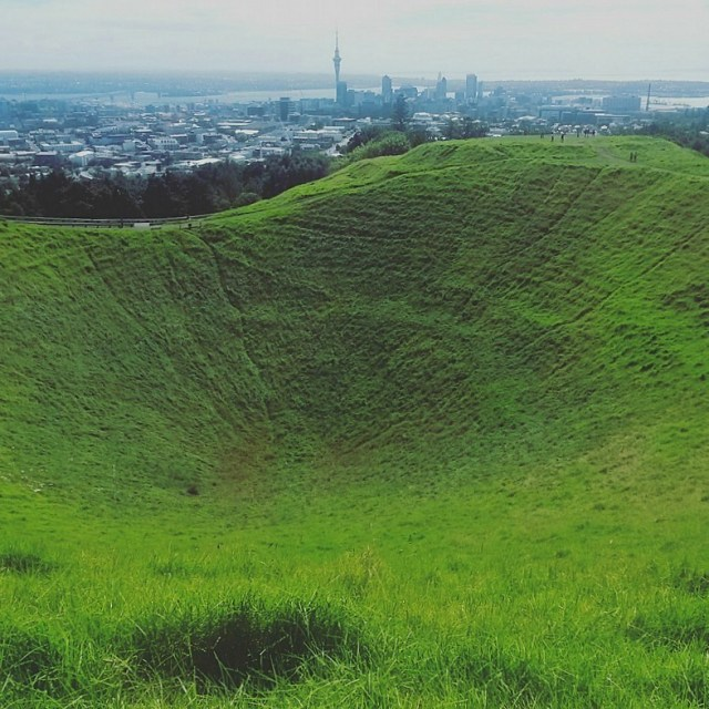 Hiking to Mt Eden crater during month nine of digital nomad life