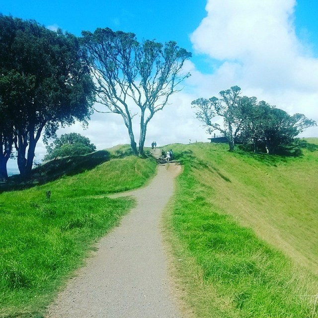 Hiking to Mt Eden summit in Auckland during month nine of digital nomad life