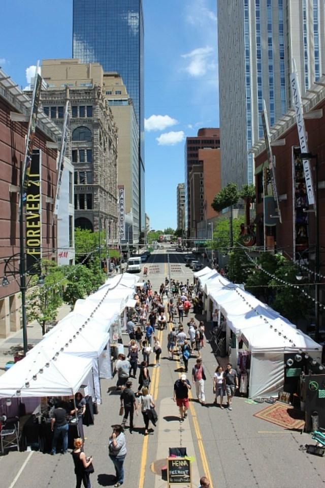 Market in downtown Denver during month 12 of digital nomad life