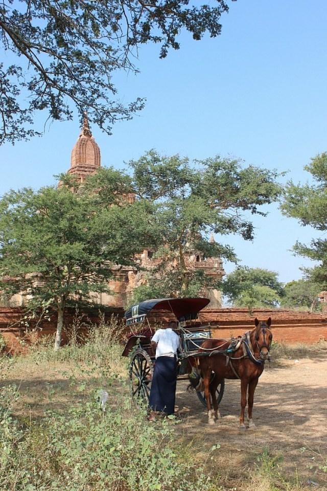 Horse and cart outside Bagan pagoda