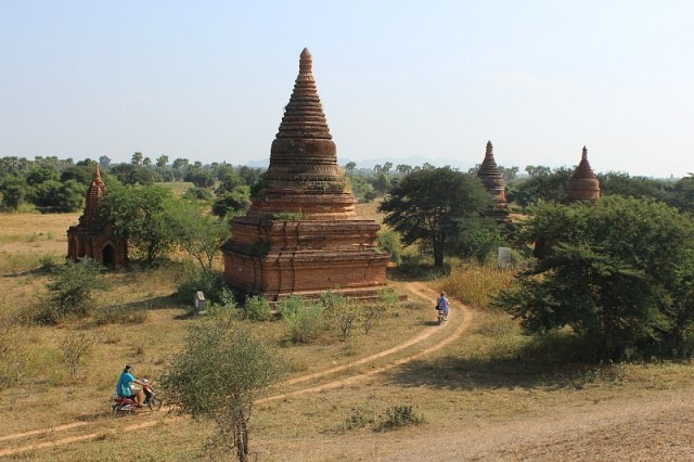 Riding back roads past pagodas in the central plains of Bagan