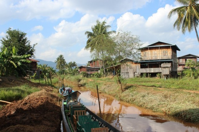 Village on tributary of Inle Lake - the end point of trekking Kalaw to Inle Lake