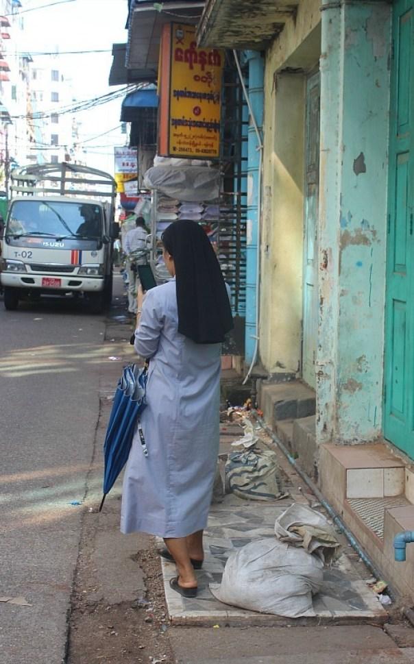 Walking around the city centre of Yangon Myanmar