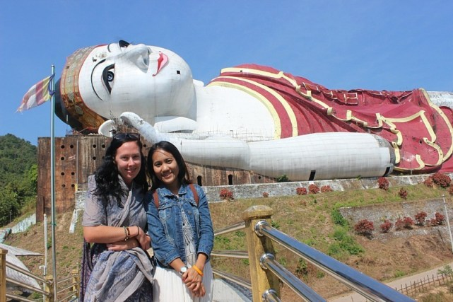 Meeting a new friend at the World's largest Reclining Buddha near Mawlamyine