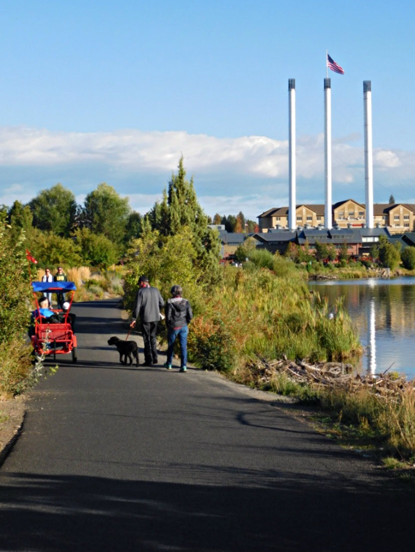 Strolling along the river to the Old Mill District in Bend during Month Twenty Eight of Digital Nomad Life