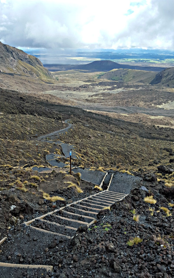 Descending the Devil's Staircase on the Tongariro Northern Circuit