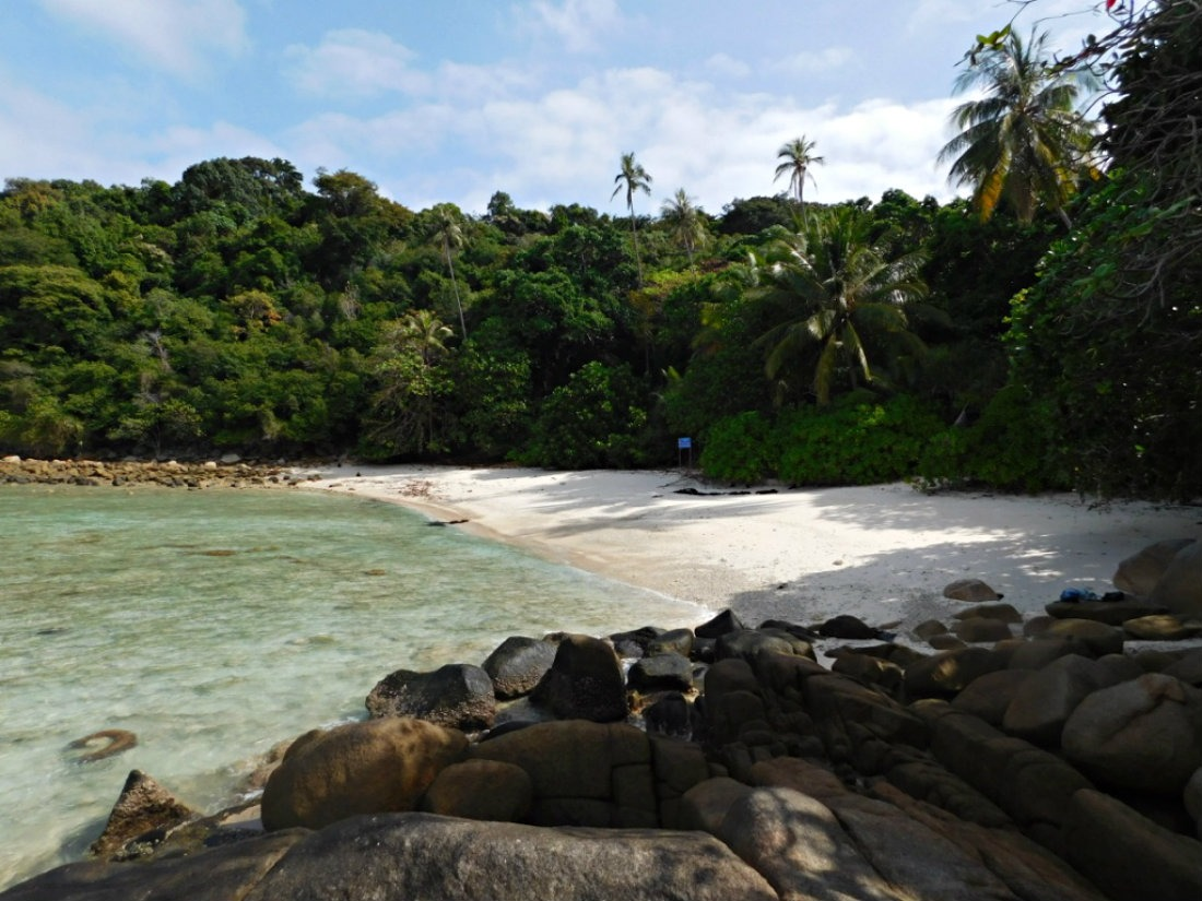 A deserted Adam and Eve beach in the Perhentian Islands in the shoulder season