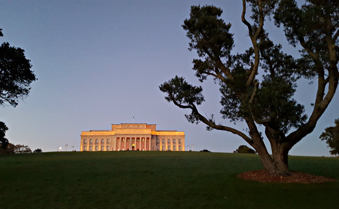 Auckland War Memorial Museum at sunrise, New Zealand