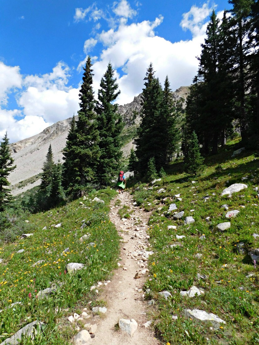 Hiking on the East Maroon Pass trail from Crested Butte to Aspen