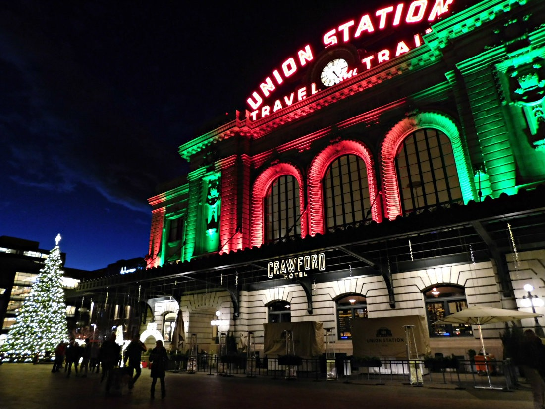 Christmas lights at Union Station in Denver, Colorado