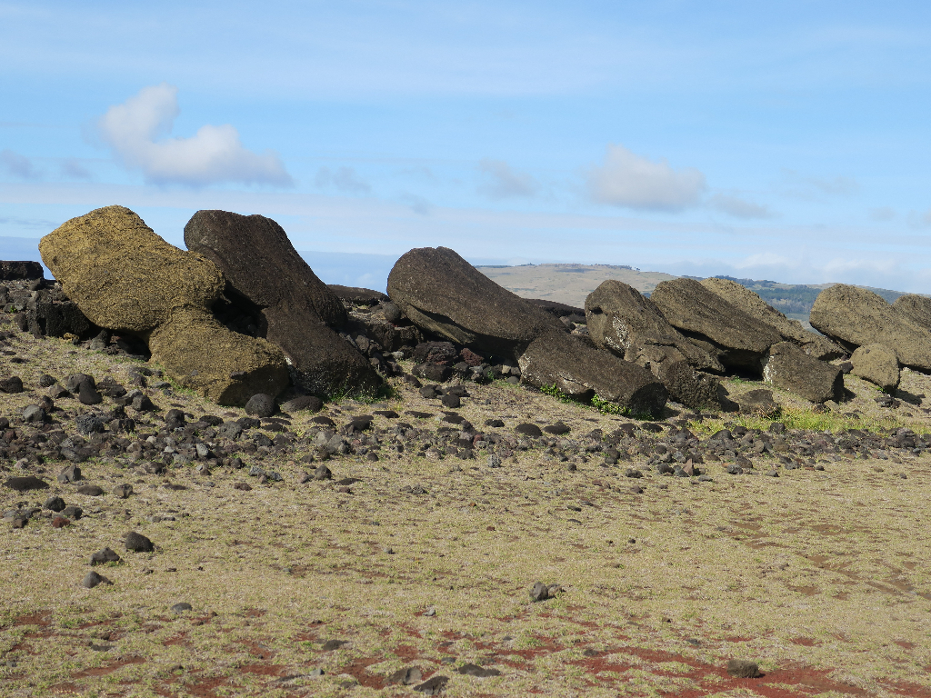 Vaihu - 8 statues laying face down pointing to the sea. Easter Island, Isla de Pascua, Hanga-Roa, Chile, South America