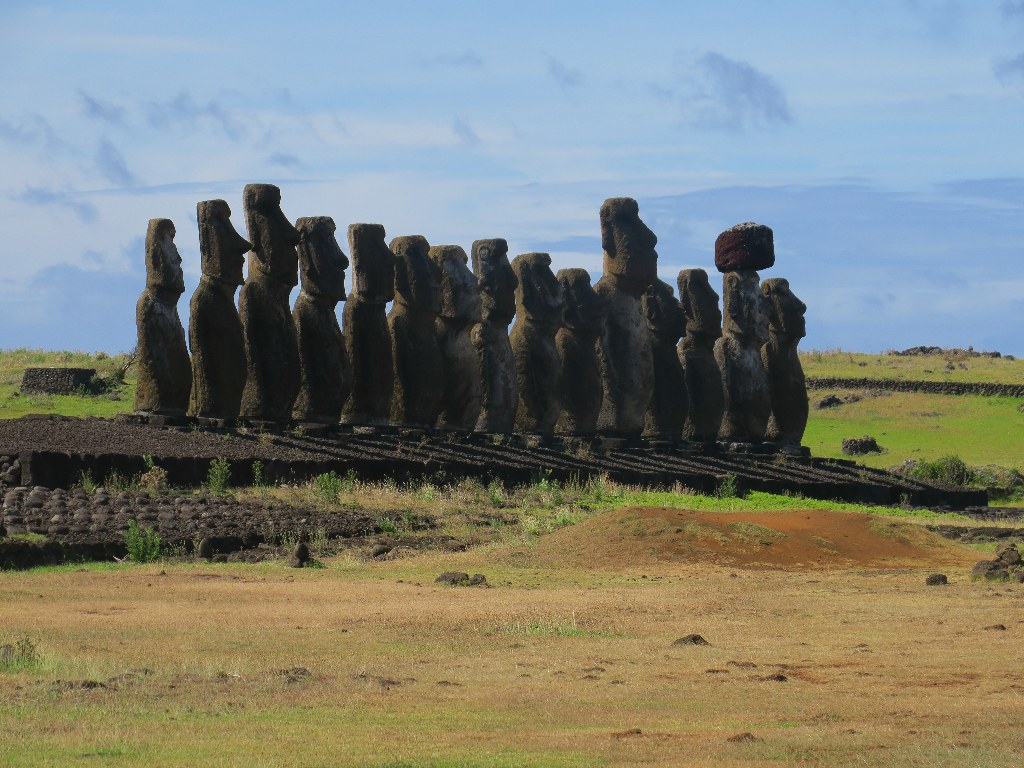 Ahu Tongariki - the 15 most famous Moai on Easter Island.  Isla de Pascua, Chile, South America