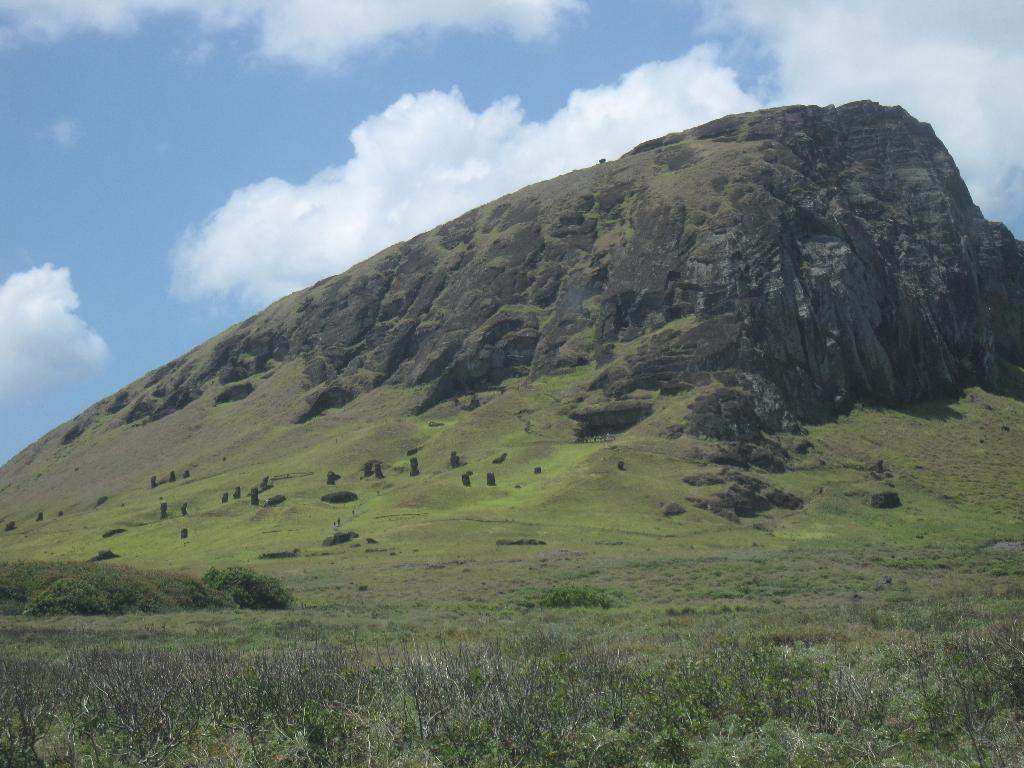 Rano Raraku Moai quarry and volcano crater. Easter Island, Rapa Nui, Hanga Roa, Isla de Pascua, Chile, South America