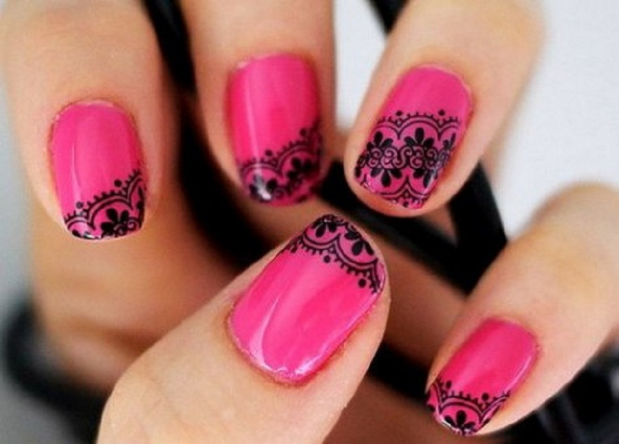 Awesome Pink Nail Polish Designs With Attractive Black