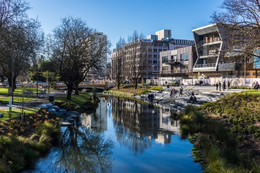 Christchurch's new buildings along the Avon River post-earthquakes.