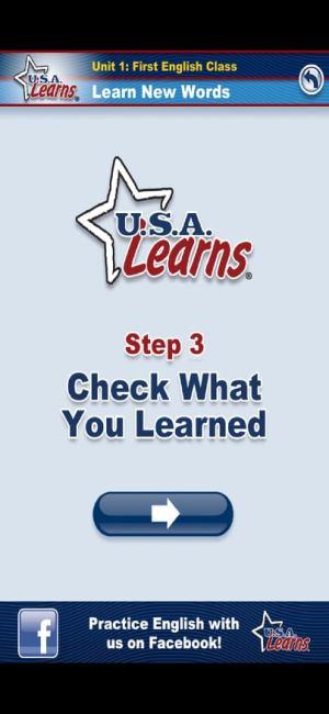 الخطوة الثالثة وهي اكتشاف ما تعلمته في تطبيق USA Learns English 1