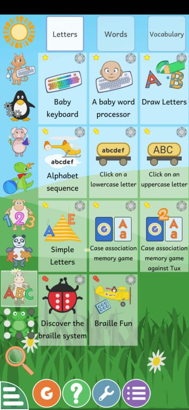 تعلم الحروف الهجائية في لعبة GCompris