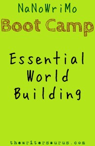 NaNoWriMo Boot Camp: Essential World Building. Only on #thewritersaurus #amwriting #nanowrimo