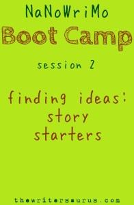 NaNoWriMo Boot Camp session 2: Story Starters. Only on #TheWritersaurus #amwriting #NaNoWriMo