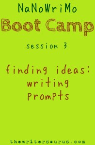 NaNoWriMo Boot Camp: writing prompts and where to find them. Via #TheWritersaurus #amwriting #NaNoWriMo