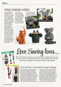 Copywriting sample published in Love Sewing Australia magazine