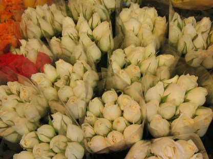 Close-up - Bunches of roses from a flower vendor