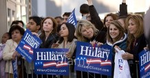 AP6CEJ Hillary Clinton supporters at a rally in Northridge, California
