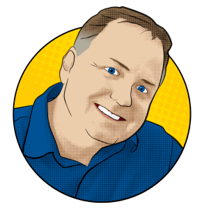 Cartoon portait of Tim, host of The Wrong Podcast