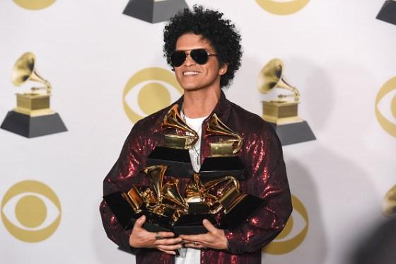 Bruno Mars with Grammy awards
