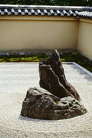 Stone in a rock garden, Ryoanji Zen Temple, Kyoto, Japan