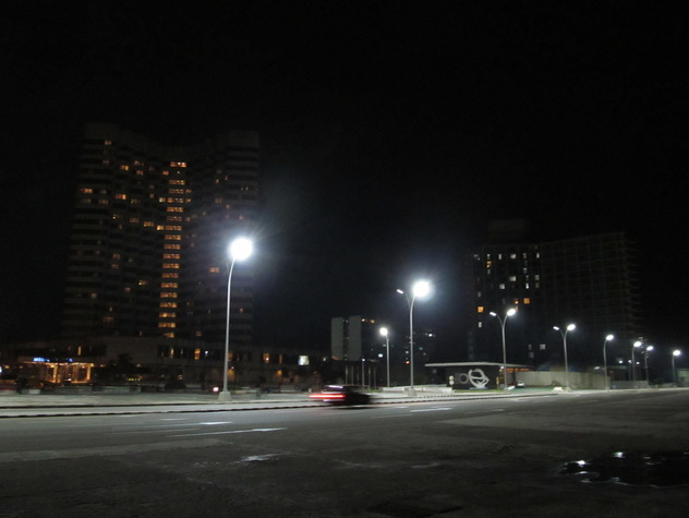 Hotels along the Malecon at night