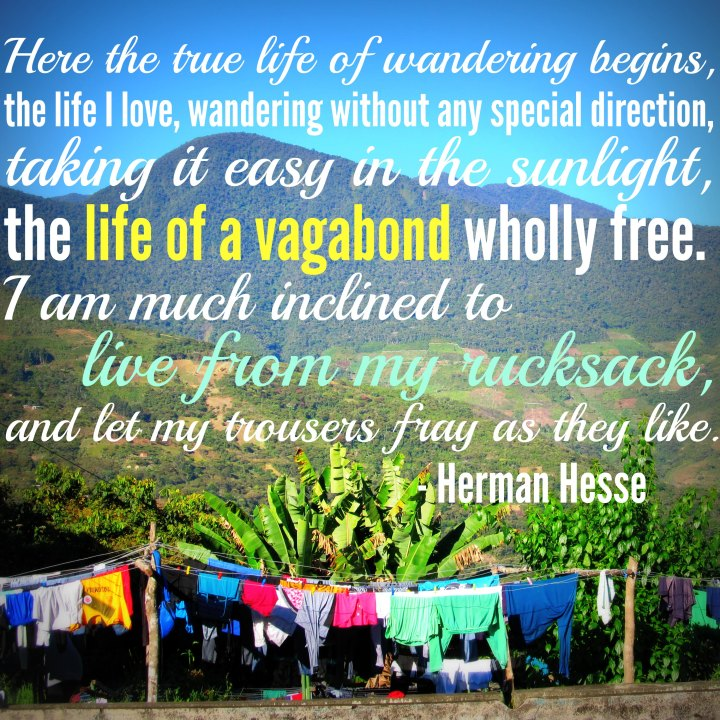Here the true life of wandering begins, the life I love, wandering without any special direction, taking it easy in sunlight, the life of a vagabond wholly free. - Hermann Hesse