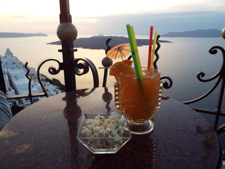 Drinks at sunset, Santorini