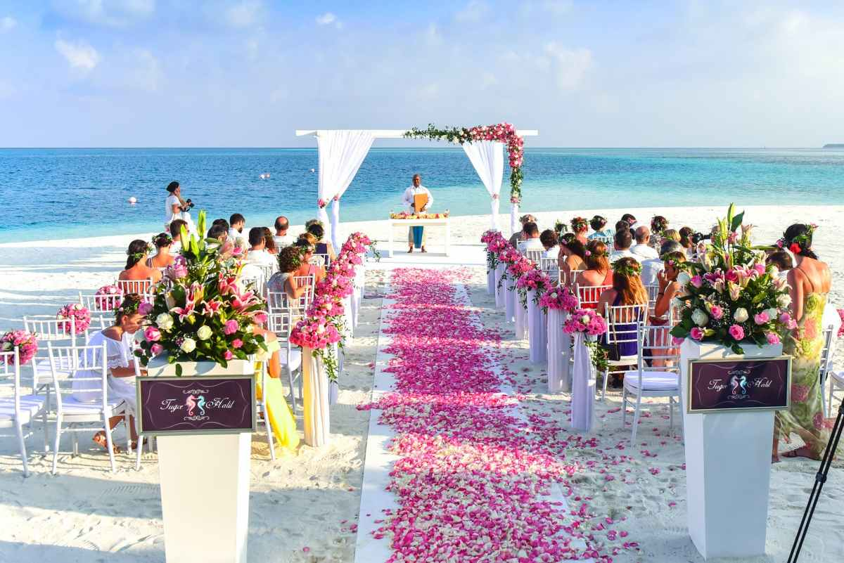 beach wedding ceremony during daytime