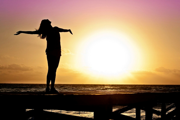 Woman thanking God