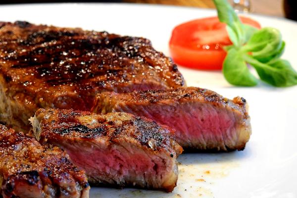 Slices of rare steak