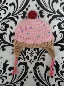 pink cupcake crocheted hat